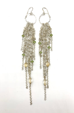 Silver citrine tassel earrings
