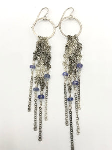 Silver fringe earrings w/tanzanite