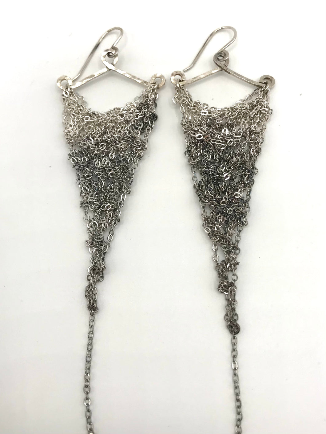 silver ombre triangle earrings (M)