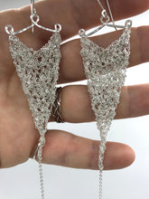 Load image into Gallery viewer, Medium silver triangle earrings