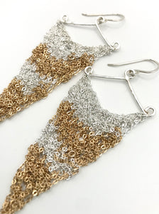 Large silver patchwork triangle earrings