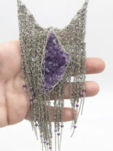 Load image into Gallery viewer, Amethyst and steel necklace armor