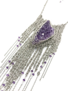 Amethyst and steel necklace armor