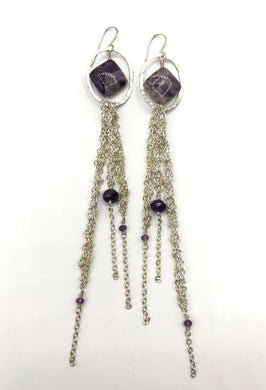 Silver amethyst tassel earrings