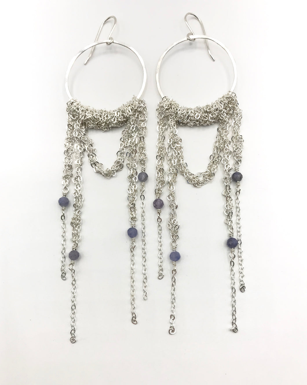 XL silver draped hoops with tanzanite