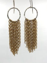 Load image into Gallery viewer, Brass and silver tassel earrings