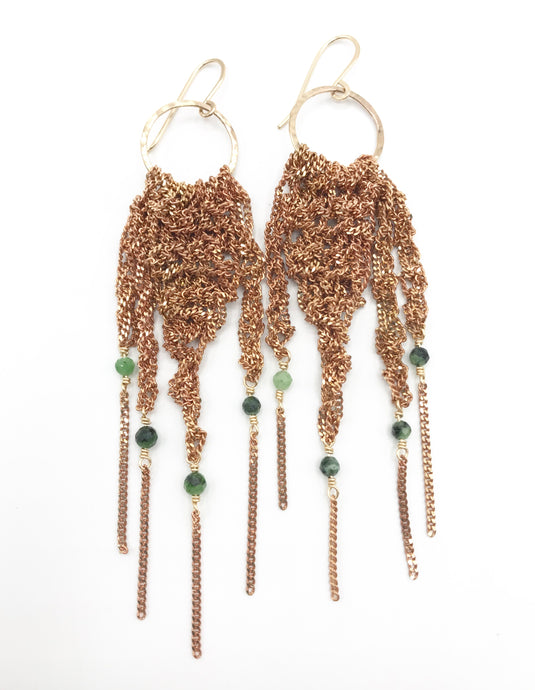 Medium gold fringe hoops with ruby zoisite