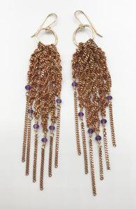 Small amethyst fringe hoops