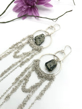 Load image into Gallery viewer, Large draped silver hoops with jasper