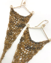 Load image into Gallery viewer, Large vintage brass triangle earrings