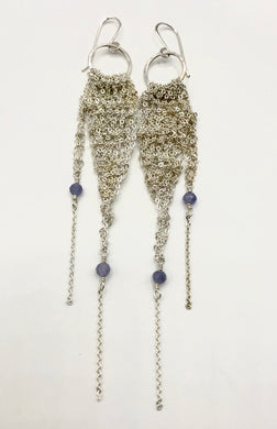 Small silver drop earrings with tanzanite