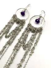 Load image into Gallery viewer, Large sterling and steel drape earrings with amethyst