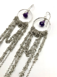 Large sterling and steel drape earrings with amethyst