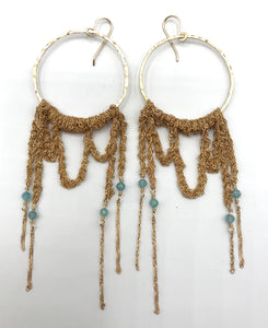 XL gold apatite hoop earrings