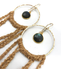 Load image into Gallery viewer, XL gold labradorite hoop earrings