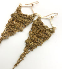 Load image into Gallery viewer, Medium sparkly brass triangle earrings