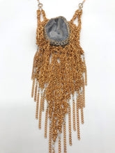 Load image into Gallery viewer, Gold plated brass chalcedony fringe necklace