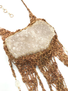 quartz cluster statement necklace