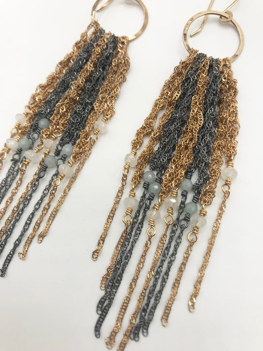 Medium gold and oxidized silver fringe earrings