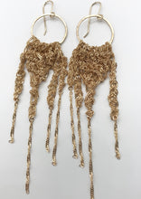 Load image into Gallery viewer, Large asymmetrical gold fringe earrings