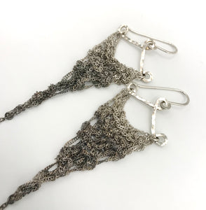 Small silver ombre triangle earrings