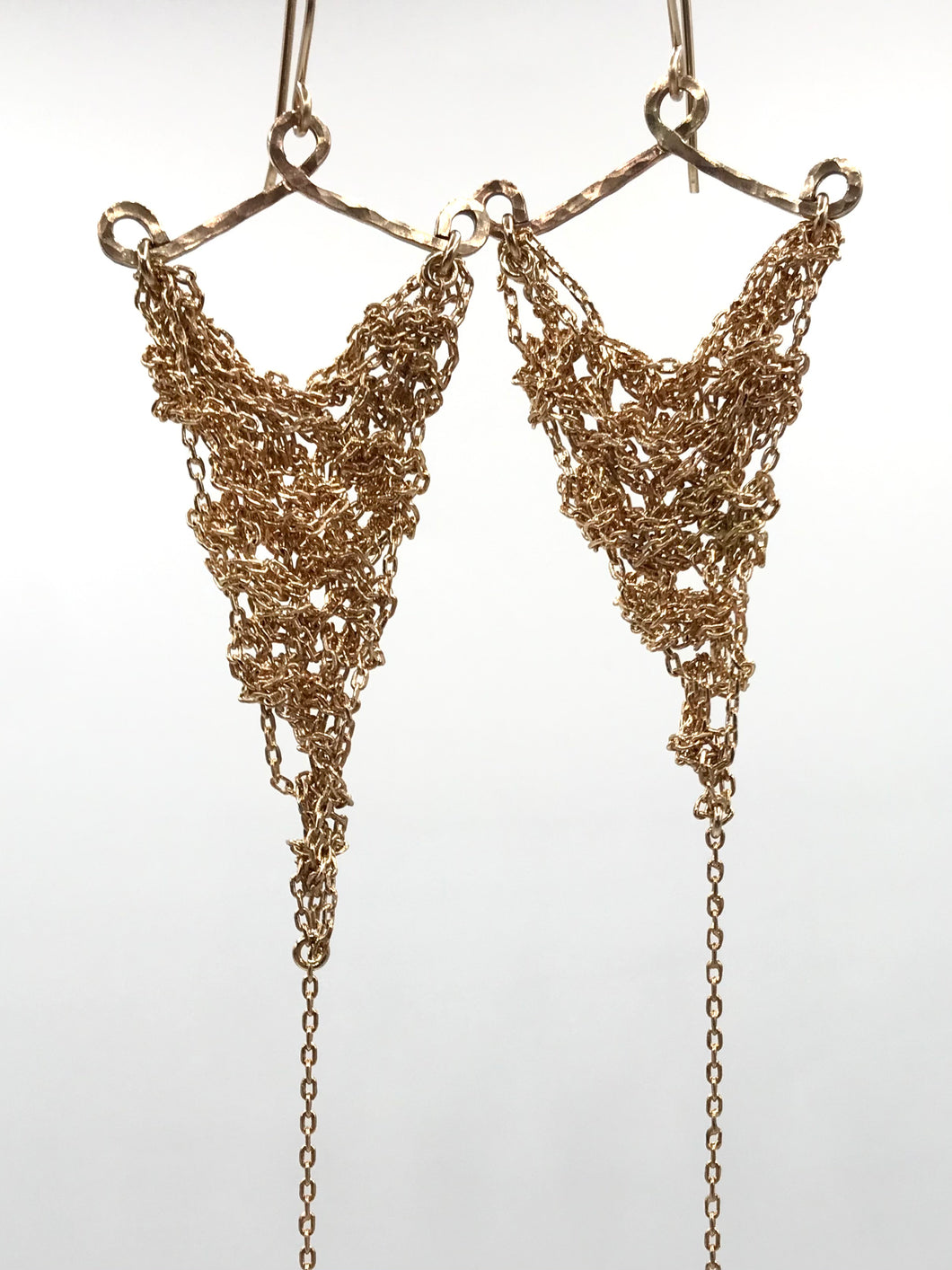 Medium gold triangle earrings