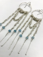 Load image into Gallery viewer, XL silver drape earrings with aquamarine