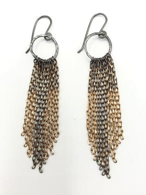 Brass ombre tassel earrings