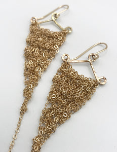 Small gold triangle earrings