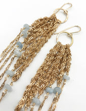 Load image into Gallery viewer, Small gold aquamarine fringe earrings