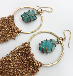 XXL brass amazonite hoops
