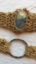 Load image into Gallery viewer, Brass + labradorite infinity necklace