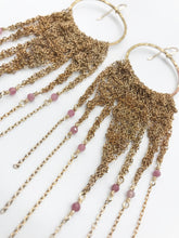 Load image into Gallery viewer, XXL brass hoops with pink tourmaline