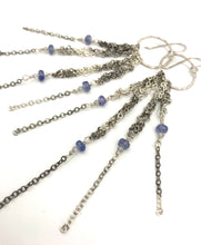 Load image into Gallery viewer, Silver fringe earrings w/tanzanite