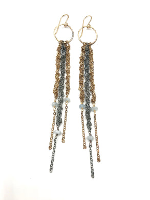 Mixed metal tassel earrings