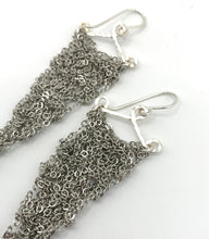 Load image into Gallery viewer, Small silver steel triangle earrings