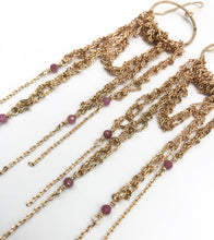 Load image into Gallery viewer, Large gold draped hoops with pink tourmaline