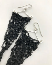 Load image into Gallery viewer, Medium gunmetal triangle earrings