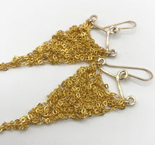 Load image into Gallery viewer, Small bright gold triangle earrings