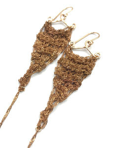Small brass crochet earrings SALE