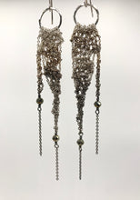 Load image into Gallery viewer, Small silver ombré drop earrings with pyrite