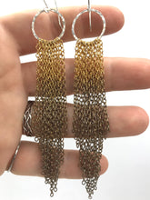 Load image into Gallery viewer, Brass and silver ombre tassel earrings