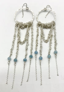 XL silver drape earrings with aquamarine