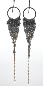 Medium silver ombré drop earrings