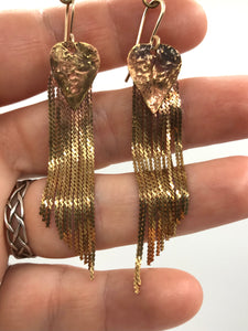Reticulated brass stardust earrings