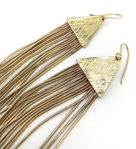 Stardust Medium brass earrings- extra long