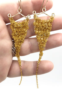 Small bright gold triangle earrings