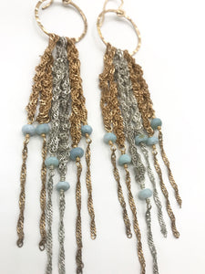Large gold and silver fringe earrings