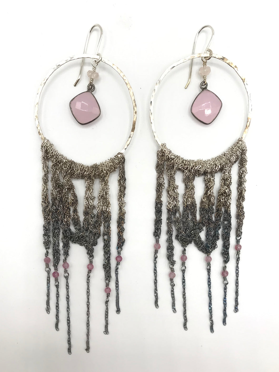 XL draped silver hoops with rose quartz