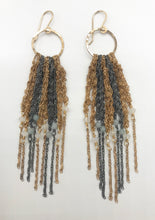 Load image into Gallery viewer, Medium gold and oxidized silver fringe earrings